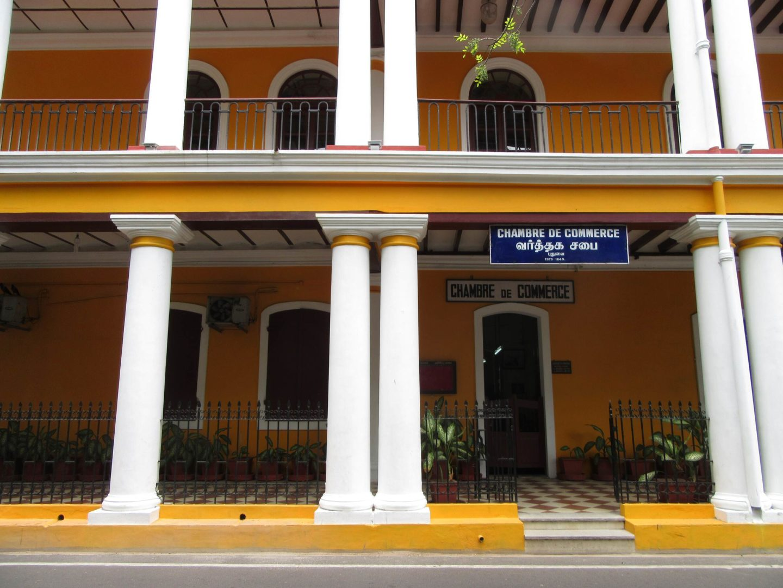 """Die """"Chambre de Commerce"""" in Pondicherry erinnert noch heute an die Kolonialzeiten."""